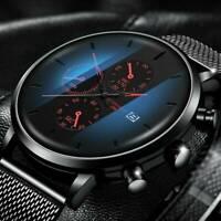 Mens Watch Military Stainless-Steel Date Sport Quartz Analog Fashion Wrist Watch