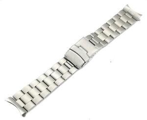 massive Uhrenarmband  Edelstahl Metall  silber 20mm Rundanstoss