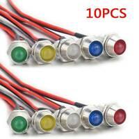 10Pcs Car Boat 12V 8mm LED Indicator Light Dash Dashboard Panel Warning Lamp