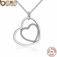 Bamoer S925 Sterling Silver Double Heart Pendant Necklace with cz Women Jewelry