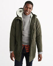 NWT Abercrombie & Fitch Mens Olive Sherpa Cotton Parka Jacket  Size - M