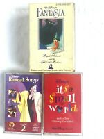 Walt Disney Lot of 3 Cassettes - Fantasia (2) Rascal Songs - Small World