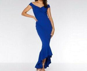 RRP £35, NEW QUIZ Royal Blue Bardot Knot Front Maxi Dress