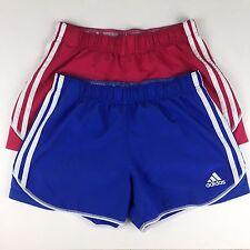 Adidas Womens Climalite Shorts Sz Small Blue Pink Unlined 3 Stripe Lot of 2 Run
