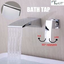 Waterfall Wall Mounted Mixer Tap Mono Bath Bathroom Spout Filler Sink Faucet New
