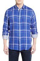 * NWT Bugatchi Classic Fit Plaid Linen Sport Shirt NWT M, L