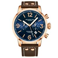 Stuhrling 3956 3 Aviator Chronograph Date Brown Leather Strap Mens Watch