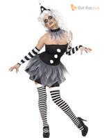 Ladies Sexy Scary Clown Jester Costume Womens Harlequin Halloween Fancy Dress