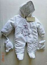 Baby Girl White Snowsuit Pram Suit Winter Coat Warm Hooded Mittens Lined 0-3 m