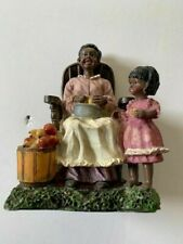 African American Mother And Child Peeling Apples Figure*Vintage*