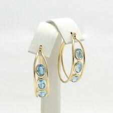 10K Gold 3ctw Blue Topaz December Birthstone Oval Hoop Earrings