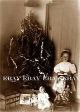 EARLY 1900'S CHRISTMAS TREE WITH LITTLE GIRL AND HER DOLLS AND TOYS DOLL PHOTO