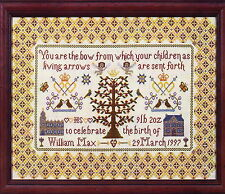 CLEARANCE - Sampler - traditional style cross stitch birth sampler chart