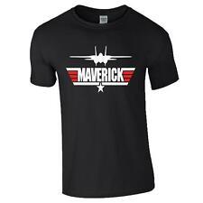 Maverick T-Shirt Tom Cruise Movie Top Gun Inspired War Plane Army Present Black