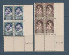 timbre France bloc de 4 coin daté  en faveur de la natalité  num: 440/41  **