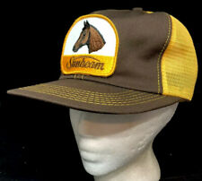 Vtg Sunbeam Mesh Trucker Hat SnapBack Patch Horse Clippers Logo K Brand Cap Farm