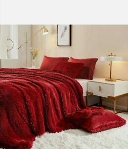 Faux Fur Duvet & And Sham Set Full/ Queen Burgandy Free Shipping EBS