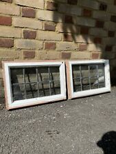 More details for pair of reclaimed leaded light panel wooden windows