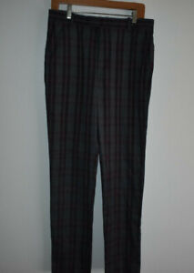 G/Fore Men's Size 32/32 100% Polyester Golf Pants Red/Gray Plaid Quality Active