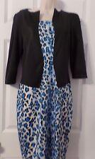 Woman's One Piece Dress, Black/Blue Cheeta Print, Size 6, NWT, by Fashion Mia