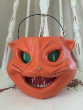 VINTAGE Style Paper Pulp ORANGE Cat Jack O Lantern By SEASONS GONE Papier-Mache