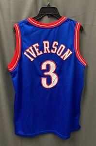 Allen Iverson #3 Signed 76ers Blue Jersey Autographed Sz XL JSA WITNESSED COA