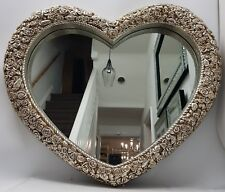 Heart Shaped Mirror Large Antique French Style Roses Shabby Chic Champagne Gold
