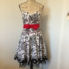 CITY TRIANGLES Black/White/Red Floral Sun/Party Dress W/Tulle Hem Size 9