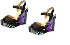 New Womens Black - PLATFORM WEDGE SANDALS SHOES Siz 6.5