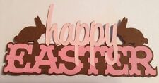 Happy Easter Word Title Die Cut Embellishment Handmade With Card Stock Pink