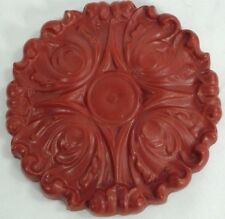 """vintage red plastic molding house decoration wall plaque 5.75"""" diameter 1"""" thick"""
