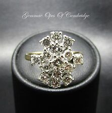 18ct Gold Raised 1.56ct Diamond Cluster Ring Size O 4.7g