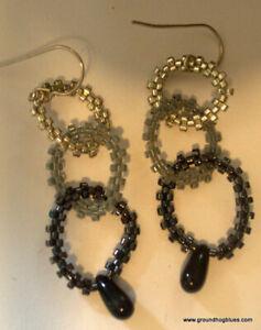 "Artist Made Three Beaded Rings Dangling Earrings 2"""