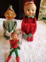 Vintage Elf Pixie Knee Hugger Santa Lot of Three for Christmas! Japan
