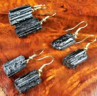 Tourmaline Earrings Gemstone Point Gold Hook LR67A Healing Crystals And Stones