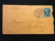 "1870-73 ERA   BANCOR, MAINE   POSTAL COVER+{{{BOLD}}} POSTMARK+3c ""WASHINGTON""!"