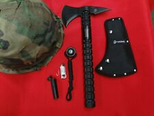 USMC Elite Officially Licensed Marine Axe Black Tactical Tomahawk + Survival Kit