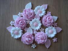 2 - PINK  ROSE BOUQUET Edible Sugar Paste Flowers Cup Cake Decorations Toppers