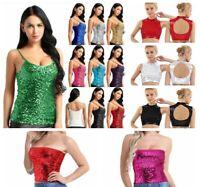 Women Dance Crop Top Evening Club Wear Sequins Tank Top Keyhole Camisole T-shirt
