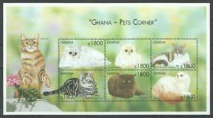 [GAN] GHANA 2000 CATS, DOMESTIC ANIMALS SHEET OF 6 STAMPS.