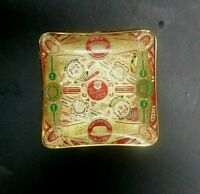 Vintage Cuban Cigar Label Band Collage Ashtray Trinket Dish w/ velvet base