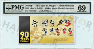 2018 GOLD MICKEY MOUSE 90TH ANNIVERSARY - 1G COIN NOTE - PMG 69 FIRST RELEASES