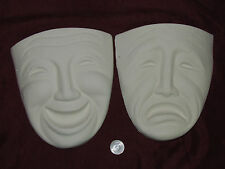 Ceramic Bisque Comedy and Tragedy Masks Wall Hanging U Paint ~ Ready to Paint