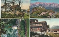 SWITZERLAND  FOUR POST CARDS CIRCA 1914 - 1919, GOOD CANCELS & STAMPS