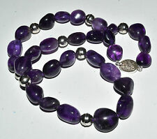 "Vtg Chinese Amethyst Nugget Bead & Sterling Silver Necklace 19"" Long"