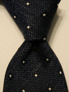 ERMENEGILDO ZEGNA Men's 100% Silk Necktie ITALY Luxury Geometric Blue/White EUC
