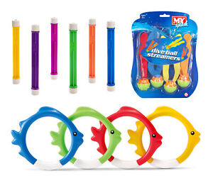 Swimming Diving Toys - 14 Piece Set - Dive Weights, Rings & Sea Weed Streamers