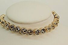 Signed Swarovski Tennis Bracelet Colorado Topaz Rose Gold Plated + Extender B131