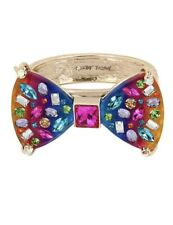 BETSEY JOHNSON RAINBOW CONNECTION LUCITE BOW HINGED BRACELET NWT