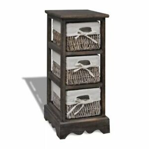 3 Drawer Wood And Wicker Tallboy Chest of Drawers Bathroom Bedroom Storage
